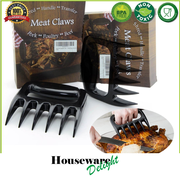 1 Set Black Grizzly Bear Paws Claws Meat Handler Fork Tongs Lift Shred Pork BBQ Barbecue Tool