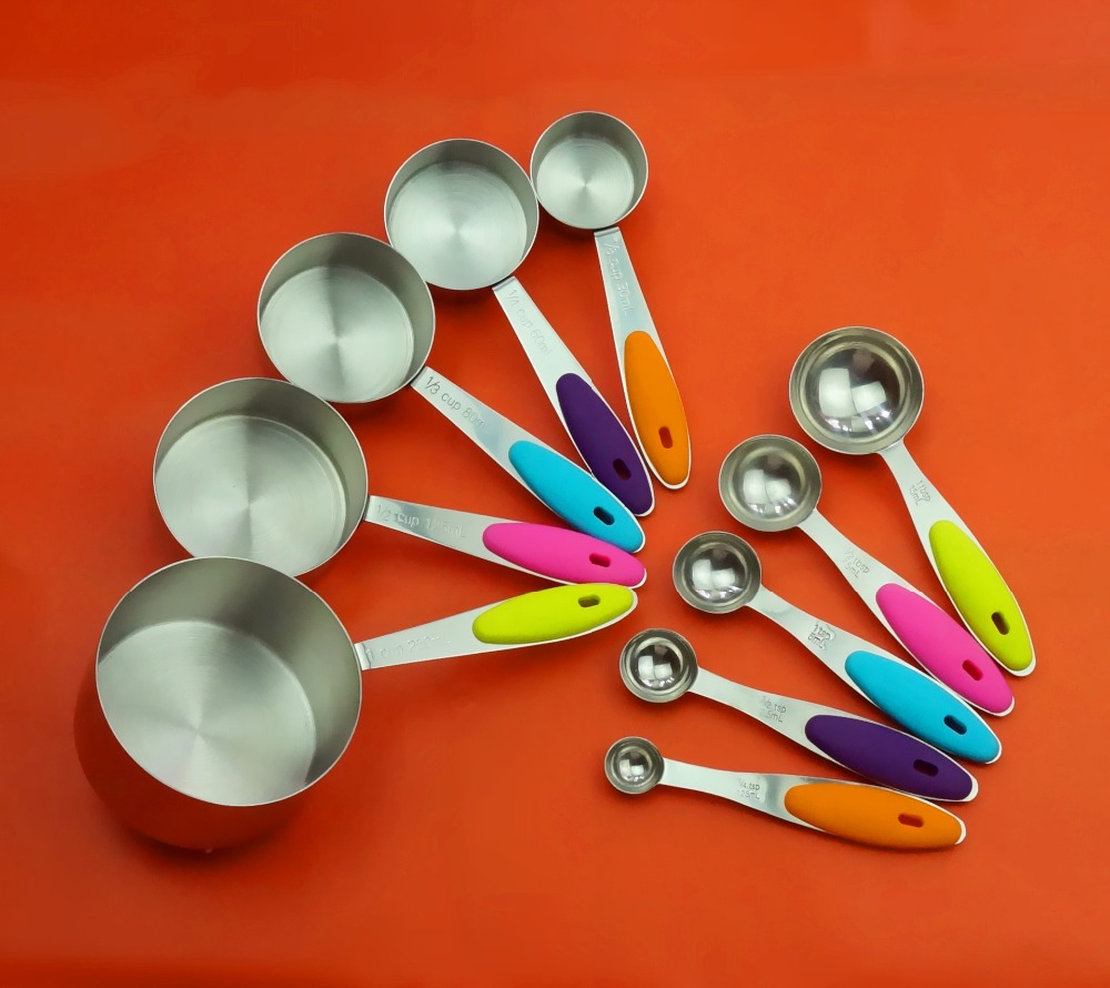 10 piece set of stainless steel measuring cups and measuring spoons free shipping worldwide. Black Bedroom Furniture Sets. Home Design Ideas
