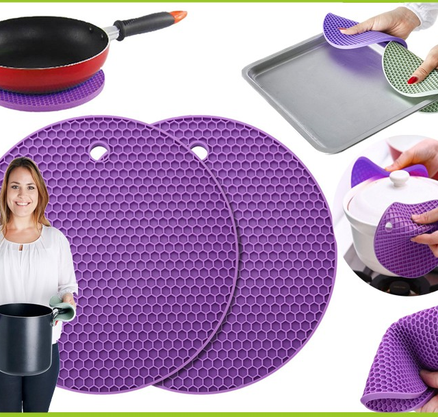 2 Piece NonSlip Heat Resistant Kitchen Cooking Hot Pot Cover Holder Pads -Silicone Rubber Pot Lid Holders- Silicone Trivets Mat