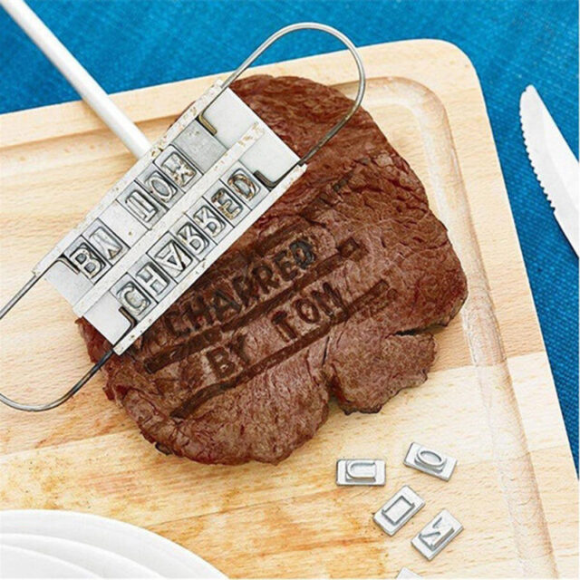 Personality Steak Meat Barbecue BBQ Meat Branding iron with Changeable 55 Letters BBQ Tool