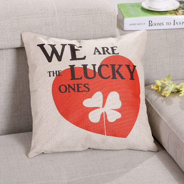 Square Cushion Cover Linen & Cotton Material Lover/Lucky Tree series print 45*45cm