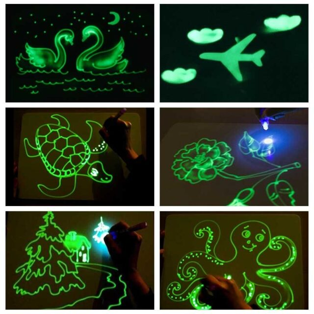 Kid's Educational Fluorescent Drawing Board Set