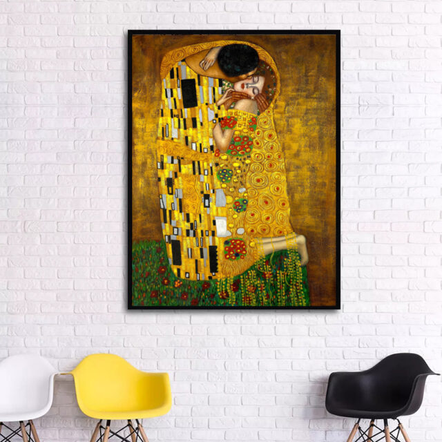 Klimt That Kiss Canvas Painting for Home